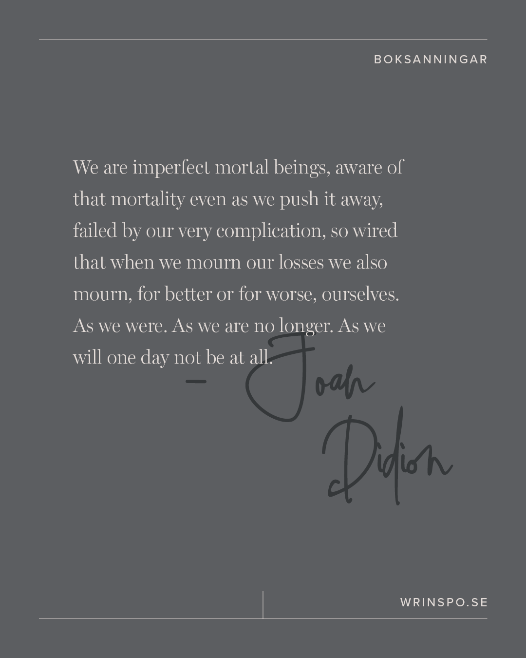 Joan Didion we are imperfect mortal beings